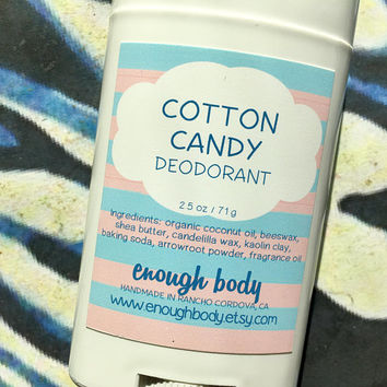 Cotton Candy Natural Deodorant Stick ~ Aluminum Free Deodorant