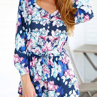 Blue Floral Romper with Tied Belt