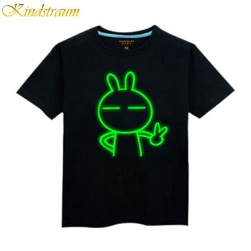 2017 NEW boy t shirt 100% cotton children summer wear kid's hip hop Neon Print t shirt Party Club Night light punk t-shirt C123