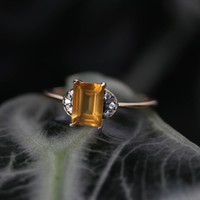 DECOR. Citrine Ornamental Gold Ring – REGALROSE