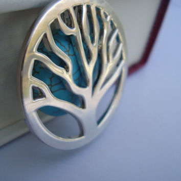 Tree and turquoise pendant necklace by AshleysCharm on Etsy