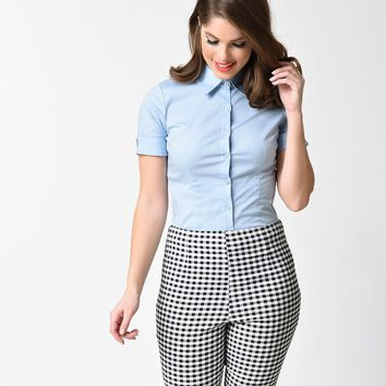 Baby Blue Collared Short Sleeve Button Up Blouse