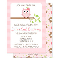 "Owl Party Invitations - Personalized 5 x 7"" - Double-Sided and Printed Birthday Invitations - Pink Owl Party"