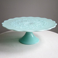 Green Pastel Milk Glass Pedestal Cake Stand -- Spanish Lace by Fenton Mint Green 1950s