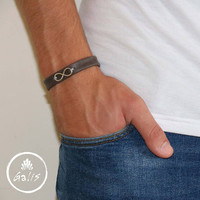 Men's Bracelet - Men's Infinity Bracelet - Men's Leather Bracelet - Men's Cuff Bracelet - Men's Jewelry - Men's Gift - Husband Gift - Male