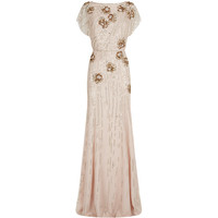 Jenny Packham Embellished Cap Sleeve Gown in Sugar Nude | Harrods