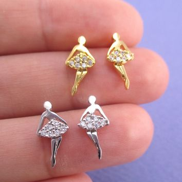 Pretty Ballerina Ballet Dancer Girl with Rhinestone Tutu Shaped Stud Earrings