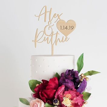 Personalized First Names + Date Cake Topper