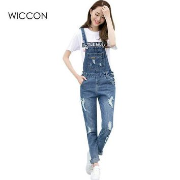 CREYCI7 Spring Fashion Ripped Jeans Jumpsuits Ladies Girls long  Pants Casual Women Rompers bib overalls Suspenders