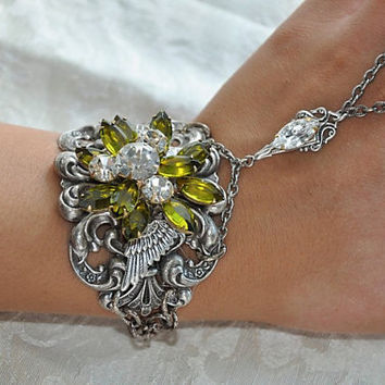 ROMANTIC WINGS  swarovski crystal OLIVINE by cynthiacouture