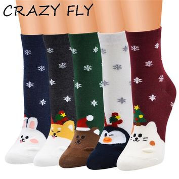CRAZY FLY Women Cute Socks Cartoon Animal Bear Rabbit Snow Christmas Tree Cotton Tube Creative Ankle Meias Happy Socks Fashion