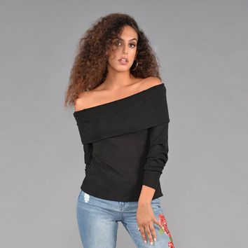 Off the Shoulder Tie Back Ribbed Sweater