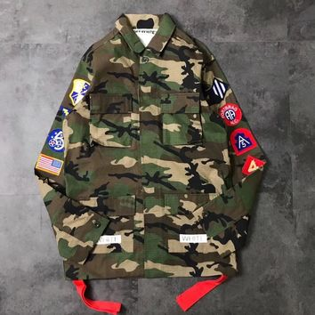 Off White Green Camo Epaulets Sleeve Jacket Red Ribbon 002