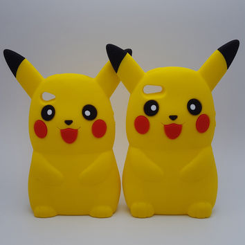 3D Pocket Monsters Pikachu Pokemon Funny Case for i4g/4s/5g/5s/SE Soft Silicone Cover shell Cases