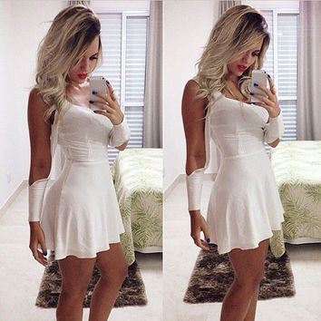 Off Bear Shoulder Slim Fitting Club White Dress