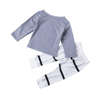 Baby Boys Girls 2 Pcs Clothes Sets Long Sleeve Lettler Printed T Shirts+Striped Pants Newborn Outfits