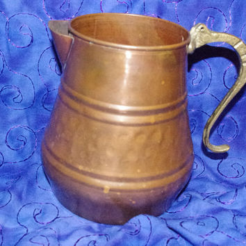 Vintage Antique Brass and Copper Decorative Water Pitcher/Milk Can - Free Shipping USA Only