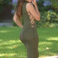Army Green Sleeveless Side Lace up Bodycon Midi Dress