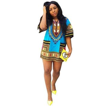 Boho Women Autumn Tunic Dress Hippie Punk Traditional Dashiki Top Shirt Dresses for African Clothing