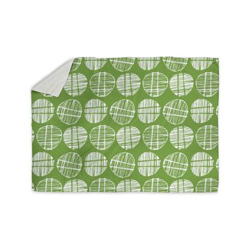 "Gill Eggleston ""Sketched Pods Green"" Green White Abstract Modern Digital Vector Sherpa Blanket"
