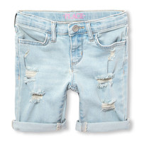 Girls Roll-Cuff Destructed Denim Skimmer Shorts | The Children's Place