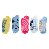 Disney Alice In Wonderland No-Show Socks 5 Pair
