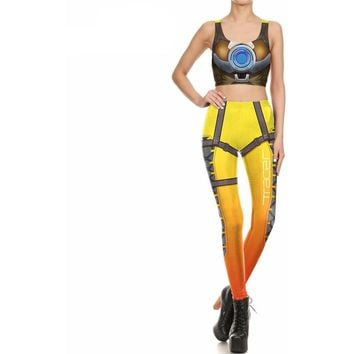 Overwatch Cosplay Tracer 2-Piece Bodysuit Leggings & Crop Top