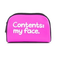 "Waldo Pancake ""Contents My Face"" Pink Cosmetic Make Up Bag"