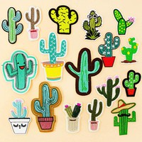 Cactus Cacti Barbary Fig Iron On Patches Badge Embroidered Applique Sewing Patch Clothes Stickers Garment Apparel Accessories
