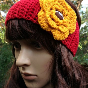 Crochet Earwarmer, Kansas City Chiefs Inspired, Crochet Headband, Football Earwarmer, Football Headband, Red and Gold