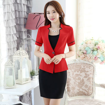 Summer Short Sleeve Professional Formal Uniform Style Business Work Suits Blazer And Dress Ladies Outfits For Beauty Salon