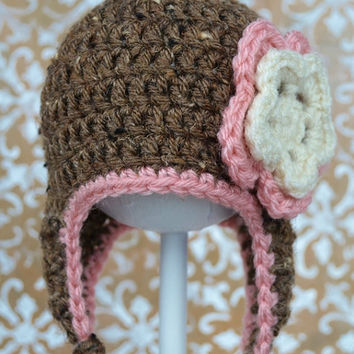 Crochet Earflap Hat with Flower, 3 to 6 mo, Ready to Ship, Brown And Pink
