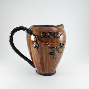 Italian made Ceramic Pitcher, Ceramic Pitcher with Embossed Grapes and Vine, Brown Pottery Pitcher made in Italy, Raised Grapes & Grapevine