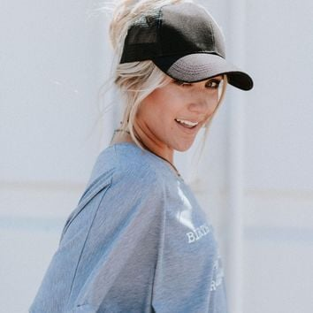 Messy Bun Baseball Cap - Black