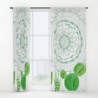 Festive Mint Cactus and Mandala Window Curtains by famenxt