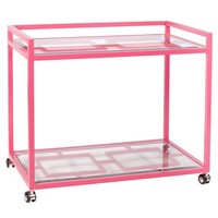 Worlds Away Hampton Pink Bar Cart