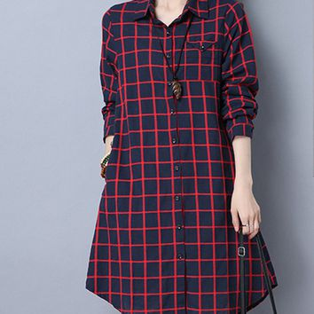 Casual Turn Down Collar Slit Pocket Plaid Shirt Dress