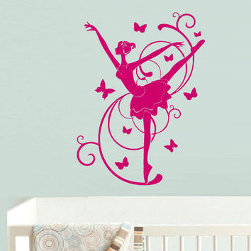Wall Decal Vinyl Sticker Decor Art Bedroom Design Mural Nursery Kids Baby Ballet Ballerina Dancer Butterfly (z730)
