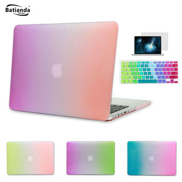 "4 Styles Gradient Rainbow Matte Hard Case Sleeve For MacBook Air 11 13.3 Pro 13 15 Retina 13"" 15"" 12 inch with Keyboard Cover"