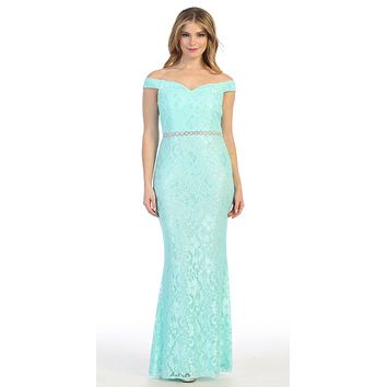 Mint Off-Shoulder Mermaid Long Formal Dress