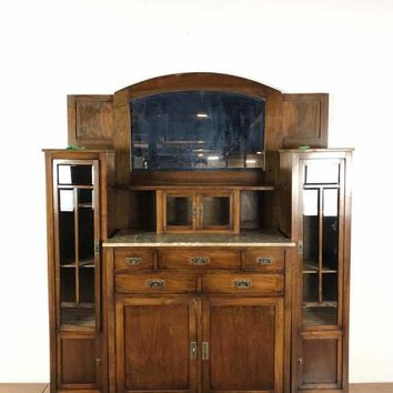 Antique Wood Marble Top Mirrored Back Sideboard