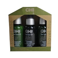 CHI Tea Tree Oil Soothing Scalp Spray, Shampoo And Conditioner Travel Se 2 oz Ea
