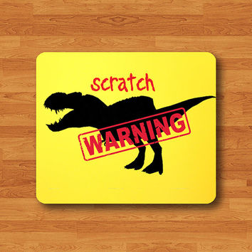 Dinosaur T-Rex Warning Tyrannosaurus SCRATCH Mouse Pad Funny Printed MousePad Art Houseware Office Desk Deco Personal Gift Computer Pad