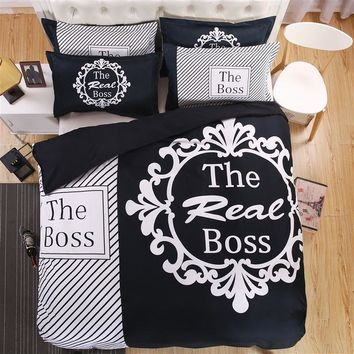 Cool Brief 3D Couple's Bedding Set The Real Boss Pattern Duvet Cover Set Soft Flat Sheet Black White Pillow Case Queen King SizeAT_93_12