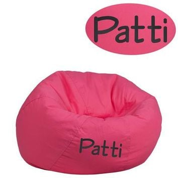 Personalized Small Solid Hot Pink Kids Bean Bag Chair