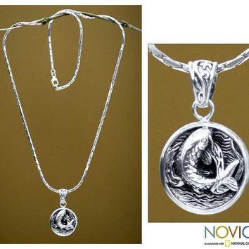 Sterling Silver 'Lucky Koi' Men's Necklace (Indonesia) | Overstock.com