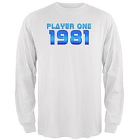 1981 Player One Birthday Mens Long Sleeve T Shirt