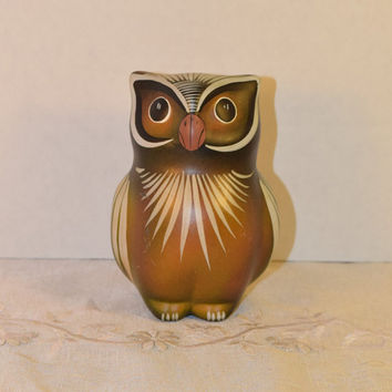 Black Friday Cyber Monday Mexican Owl Figurine Vintage Hand Painted Made in Mexico Folk Art Owl Tropical Painted Scene Ceramic Owl Mexican P