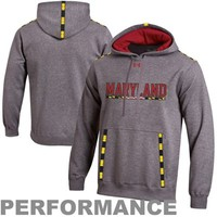 Under Armour Maryland Terrapins Charged Storm Performance Pullover Hoodie - Charcoal