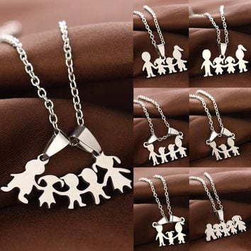 Parents Love Son Daughter Boys Girls Necklaces Stainless Steel Pendant Mothers Fathers Necklace For Family Mom Dad Kids Gifts